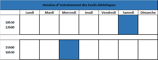 horaires groupe EA