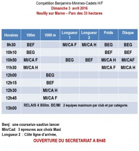 horaire BE-MI-CA