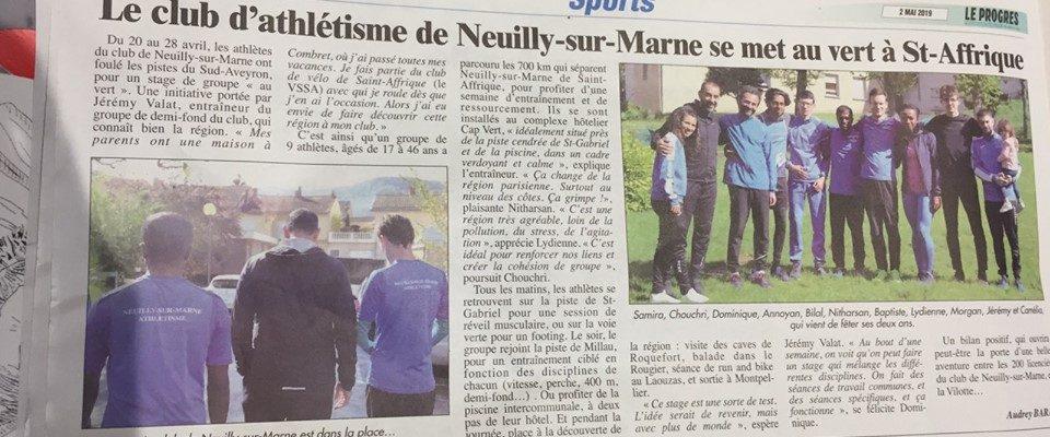 Neuilly sur Marne Athlétisme dans les journaux !!